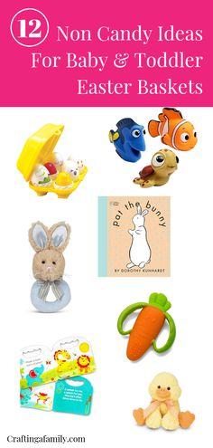 Non-Candy Ideas for Baby & Toddler Easter Baskets. Fill the kids Easter Baskets with fun educational toys & books that they will have fun with for years. Perfect for Easter Baskets and any time of the year. Birthday baby toddler presents too. #noncandy #noncandyeaster #noncandyeasterbasket #easterbasketideas #noncandyideas