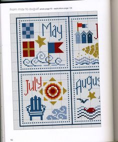 Mar to August, left side//Gallery. Cross Stitch Sea, Cross Stitch Beginner, Cross Stitch Alphabet, Cross Stitch Samplers, Cross Stitch Charts, Cross Stitch Designs, Cross Stitching, Cross Stitch Embroidery, Cross Stitch Patterns