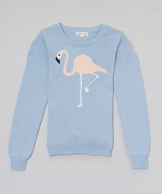 Look what I found on #zulily! Denim Flamingo Sweater - Toddler & Girls by Yoon #zulilyfinds