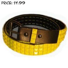 BeltsandStuds Goth Punk Yellow Stud Studded Snap on Belt XXL 42 Yellow