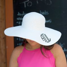 Monogrammed Floppy Hat for Women - Sun Hat - White Hat can be personalized with custom embroidered monogram in your choice of font & thread color. Perfect hat for a day at the beach, derby, or church. Paper Blend Approximately Around the Head Brim Width: Flo Jo, Monogram Hats, Letter Monogram, Letters, Floppy Sun Hats, Summer Hats, Summer Sun, Summer Beach, Spring Summer