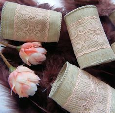 TAN and PEACH LACE Wedding Napkin Rings by ModernClassicbyCarol