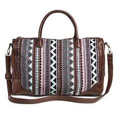 Women's Aztec Striped Weekender Handbag - Multicolor