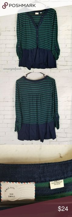 """Anthropology Postmark Henley Peplum Striped Top S Anthropology Postmark Henley Peplum Striped Top size S in great used condition. Some minor pilling. Very cute!  Waist from seam to seam approx: 19"""" Length from top approx: 24""""  Please let me know if you have any questions. Happy Poshing! Anthropologie Tops"""
