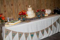 Fall Wedding Series #4 - The Cake and Present Tables ~ Create. Share. Repeat! Burlap, Pumpkin, Mason Jars, Banner Pendants