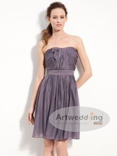 Pleated Chiffon over Satin A Line Bridesmaid Dress with Ruffles