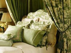 Green bedroom;  I LOVE the green Toile!!