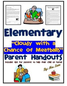 "This item includes tips for parents to help their child at home with learning concepts associated with the book ""Cloudy with a Chance of Meatballs."""