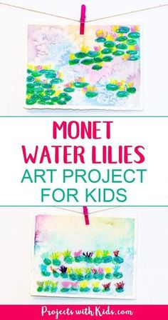 Explore easy watercolor techniques and oil pastels in this Monet water lilies art project for kids. Create beautiful and colorful paintings inspired by the famous artist Claude Monet. Kids will have fun creating their own masterpiece! #watercolorpainting #artprojectsforkids #pastels #projectswithkids
