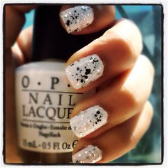 """Nail art using OPI's """"Alpine Snow"""" & Essie's Luxe Effects """"Set in Stones"""""""