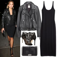 Fitted Knee-LengthDress + Leather Jacket