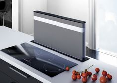 Searching for Downdraft range hoods? Find out all the Best's cooker hoods. Kitchen Island With Cooktop, Kitchen Island Table, Modern Kitchen Design, Modern House Design, Kitchen Ventilation, Extractor Hood, Tiny Apartments, Smart Kitchen, Home Technology