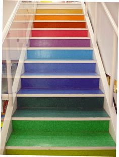 Color Somewhere Over the Rainbow! Rainbow colored stairs at DeSerres craft store in West Edmonton Mall Hm Deco, House Stairs, Cottage Staircase, Deck Stairs, Stair Steps, Painted Stairs, Stairway To Heaven, Over The Rainbow, Rainbow Colors