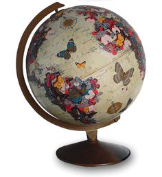 Add some decoupaged butterflies and flowers to a plain globe...= ART