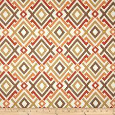 Swavelle/Mill Creek Jacq Diamonds Tango from @fabricdotcom  Screen printed on cotton duck; this versatile medium weight fabric is perfect for window accents (draperies, valances, curtains and swags), accent pillows, duvet covers and upholstery. Create handbags, tote bags, aprons and more. Colors include mocha, tan, orange and ivory.