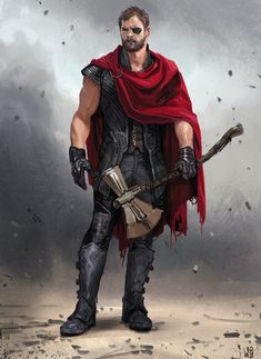[Avengers: Infinity War Concept Art] - An early concept for Thor, designed by Wesley Burt Marvel Fanart, Marvel Dc Comics, Marvel Heroes, Thor Marvel, Thor Characters, Iconic Characters, Marvel Concept Art, Thor Ragnarok Concept Art, Mundo Marvel