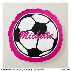 Shop Pink soccer ball throw pillow for girls bedroom created by logotees. Soft Pillows, Decorative Pillows, Throw Pillows, Soccer Bedroom, Cute Birthday Gift, Sports Birthday, Sports Party, Pink Birthday, Teen Girl Bedrooms