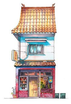 Tokio storefront Mateusz Urbanowicz art illustration painting watercolor life japan