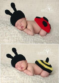 Wholesale Newborn Baby Crochet Hat amp; Ladybug Tushy Topper Photography Prop Bumble Bee Tushy Topper set, Free shipping, $8.78-12.5/Set | DHgate