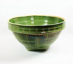 SALE Early Vintage Nelson McCoy Yellow Ware Window Pane Pattern Ceramic Bowl Etsy Treasury Item.
