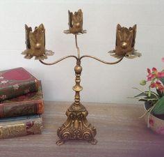 £16.95...Antique Gold Ornate 3 Arm Candelabra | eBay