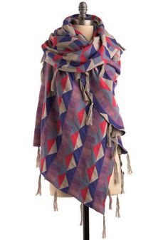 Favorite Colors Shawl - Oversized, fringed shawl by Danish designer Second Female - Via Mod Cloth