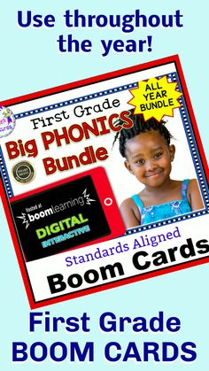 This giant 1st Grade Boom Cards Bundle focuses on word recognition, phonological awareness, sounds (phonemes), phonics, word families, syllable division and more. The perfect resource to use throughout the year to teach important foundational skills and even covers a few 2nd grade CCSS skills. #boomcards #boomcardsfirstgrade #boomcardsphonics #teacherfeatures #boomcardselementary #1stgradephonics #wordworkactivities #noprep #tpt #technologyintheclassroomelementary #firstgradeliteracy