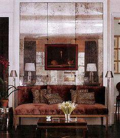 antique mirror wall tiles - with rosettes Mirror Panel Wall, Mirror Wall Tiles, Rustic Wall Mirrors, Mirror Mirror, Mirror Collage, Frameless Mirror, Custom Mirrors, Mirror Ideas, Bathroom Wall