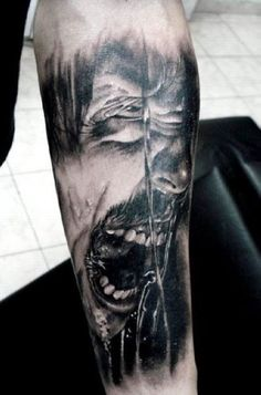 Horror Face Portrait Arm Tattoo   #Tattoo, #Tattooed, #Tattoos