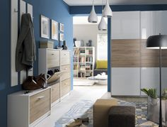 Hallway Entrance Porch Cloakroom Storage Furniture The Nepo range offers a variety of storage to hel Cloakroom Storage, Modern Hallway, Timber Flooring, Coat Hooks, Small Rooms, Bedroom Apartment, Your Space, Small Space, Entrance