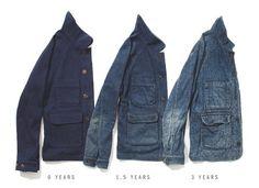 Its Worn Apolis Indigo Wool Chore Coat Denim Look Fashion, Mens Fashion, Hunting Jackets, Work Jackets, Casual Jackets, Denim Coat, Indigo Dye, Vintage Denim, Work Wear