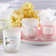 Personalized Frosted Glass Votive Baby Shower Candle Favor