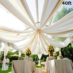40FT Premium White Fire Retardant Sheer Voil Curtain Ceiling Panel Backdrop