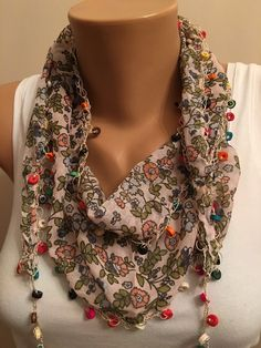 A personal favorite from my Etsy shop https://www.etsy.com/listing/258256119/floral-scarflace-scarfwomens