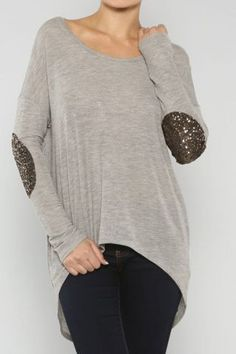 Sequins Elbow Patch Top at Endless Envy Boutique #Fashion #Style #Glam #Cute #Fun #HeatherGrey #Sequins #Sweater  #ElbowPatch