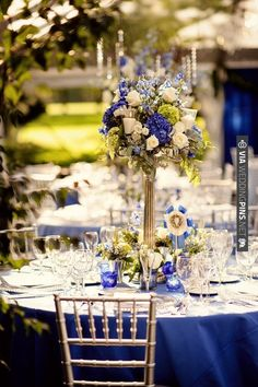 Blue-themed wedding with tall centerpieces, chavari chairs, and blue linens! Great for a Fall or Spring wedding Blue Wedding Flowers, Gold Wedding, Wedding Table, Wedding Colors, Dream Wedding, Wedding Day, White Flowers, White Roses, Spring Wedding