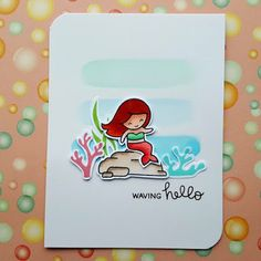 """A friendship card that I made with the """"Mermaid For You"""" stamp set from """"Lawn Fawn""""."""