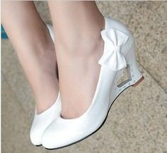 The bride high-heeled single shoes flat heel female women's bow shoes wedges platform peach heart wedding shoes hasp white US $19.05