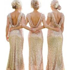 Gold Sequin Long Mermaid Bridesmaid Dresses Cap Sleeve Sexy Wedding Party Gown Backless Prom Evening Formal Dresses
