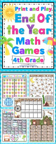 End of the Year 4th Grade Math Games (Print and Play: No Prep) - Relax and enjoy the end of the year with your students with this set of 15+ print and play math games. These games are fun and and review key 4th grade math concepts. $
