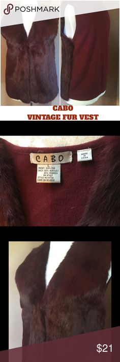 """CABO Vintage Fur Vest ! 💗 CABO vintage 100% front fur vest ! Back is 80% acrylic 20% spandex ! Dry clean only ! Perfect condition ! It does not say what kind of fur ! It is super soft ! The front fur part is lined in what feels like polyester ! ? It has one closure hook in front right at end of v neckline ! Wear open or closed ! Length is about 23"""" ! This is very unique ! Beautiful ! ❤️ CABO Jackets & Coats Vests"""