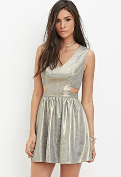 Metallic Fit & Flare Dress | Forever 21 - 2000162914 -- ASTRONAUT? DISCO BALL? POSSIBILITIES!