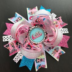 LOL Glitter Surprise Hair Clips x2 Pink Purple Bows Genuine Official Lol L.O.L