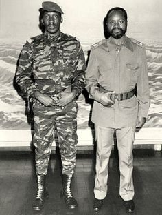 Captain Thomas Sankara and Samora Machel (president of Mozambique). Thomas Sankara, African Dictators, African National Congress, Self Respect Quotes, Meeting Of The Minds, History Tattoos, Pan Africanism, Blood Brothers, Black History Facts
