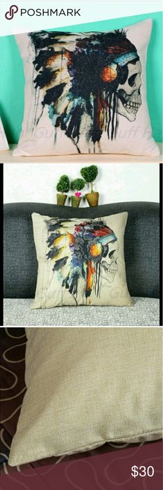 🍒Incredible Indian  Skull pillowcase This is a brand new pillow case, cotton linen 43x43 perfect place it on a bed or sofa, color is very vibrant. Other