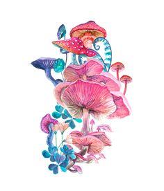 Art Print by Liliya Kovalenko - X-Small Mushroom Paint, Mushroom Drawing, Watercolor Art Lessons, Watercolor Paintings, Guache, Hippie Art, Art Inspo, Art Reference, Art Drawings