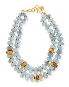 Aquamarine Double-Strand Necklace by NEST Jewelry at Neiman Marcus. Aquamarine Necklace, Gemstone Necklace, Turquoise Necklace, Beaded Necklace, Paper Jewelry, Beaded Jewelry, Silver Jewellery, Jewelry Necklaces, Handmade Necklaces