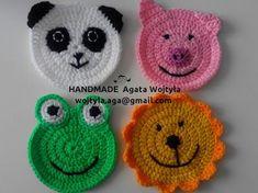 black color with rope into the magic ring 12 half handrails . Crochet Baby Bibs, Crochet Panda, Crochet Sheep, Kawaii Crochet, Crochet Faces, Crochet Coaster Pattern, Granny Square Crochet Pattern, Crochet Motif, Crochet Flowers