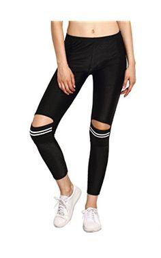 SweatyRocks Women Legging Black Rip Striped Skinny Yoga Pants Slim Tights ❤ ...