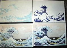 "Woodblock printing process / This image shows a sample of the woodblock printing process used to create the original ""Great Wave"" prints. Although the method seems slow to us today, this would have been much quicker than painting each by hand. It also makes each one fairly exact."